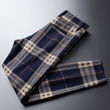 Casual Pants Trousers Brushed Plaid Loose Blue Thick Men's Winter Straight And Autumn