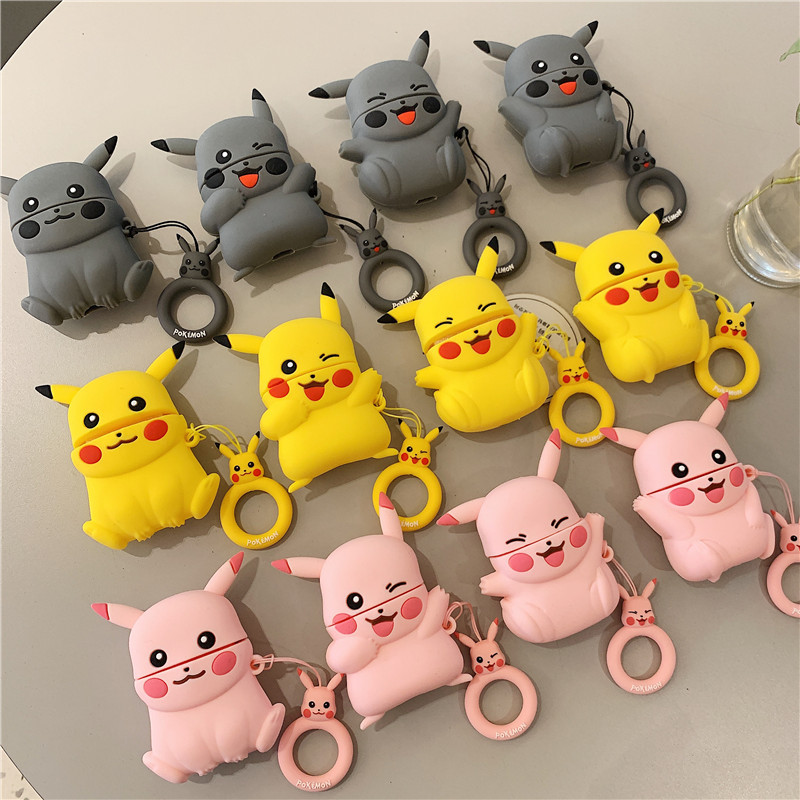 Cartoon <font><b>Pikachu</b></font> keychain Keyring Earphone silicone soft <font><b>Cases</b></font> For <font><b>AirPods</b></font> 1 2 Bluetooth Headset Charging Box Cover box image