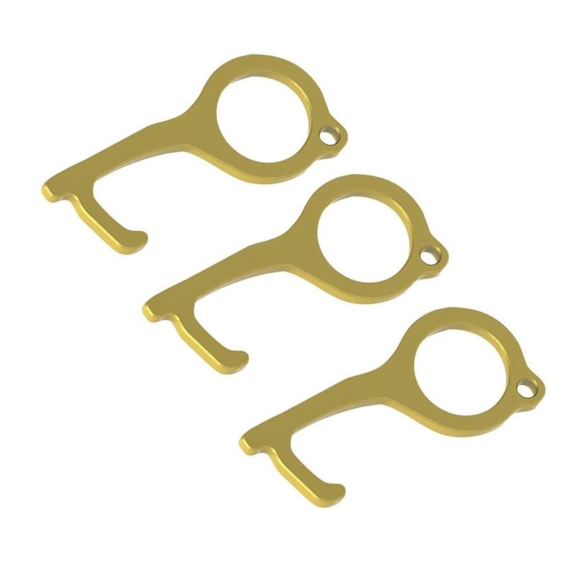3Pcs Contactless Door Opener Protection Isolation Copper Key Elevator Button Door Opener