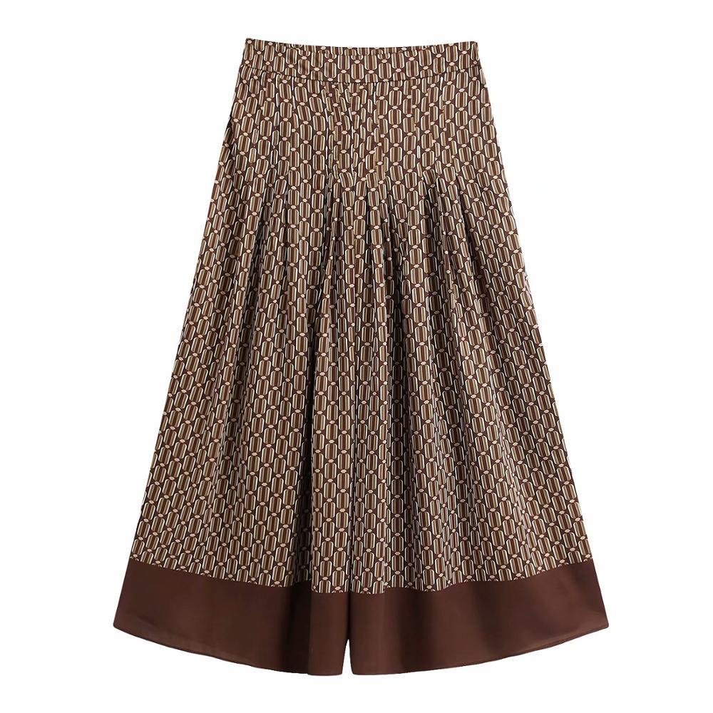 Women Vintage Geometric Printing Pleats Wide Leg Pants Female Retro Chic Patchwork Calf Length Trousers P601