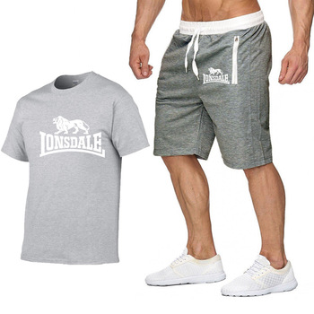 2020 summer men's hot new print T-shirt + shorts casual suit men's sports Lonsdale running explosions casual sportswear sets цена 2017