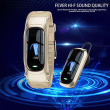 Reloj inteligente 2 en 1 con Bluetooth, monitor, seguidor Fitness de ritmo cardíaco, control de voz IA para Android, Auriculares deportivos para negocios