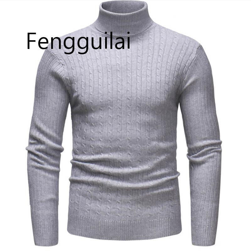 Autumn Winter High Neck Thick Warm Sweater Men Turtleneck Brand Mens Sweaters Slim Fit Pullover Men Knitwear Male Double Collar