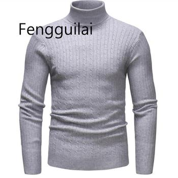 Autumn Winter High Neck Thick Warm Sweater Men Turtleneck Brand Mens Sweaters Slim Fit Pullover Men Knitwear Male Double Collar new men s sweaters autumn winter warm pullover thick cardigan coats mens brand clothing male casual knitwear sa582