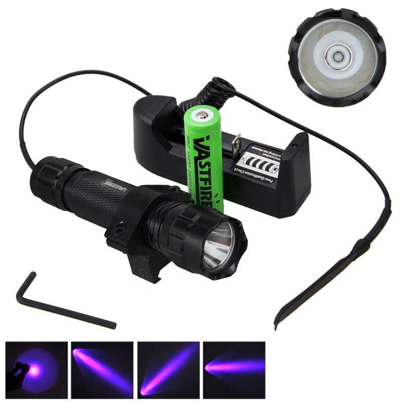 5000лм XM-L Q5 T6 светодиодный оружейный светильник белый тактический охотничий флэш-светильник+ прицел страйкбол крепление+ пульт дистанционного управления+ 18650+ зарядное устройство - Цвет: Фиолетовый