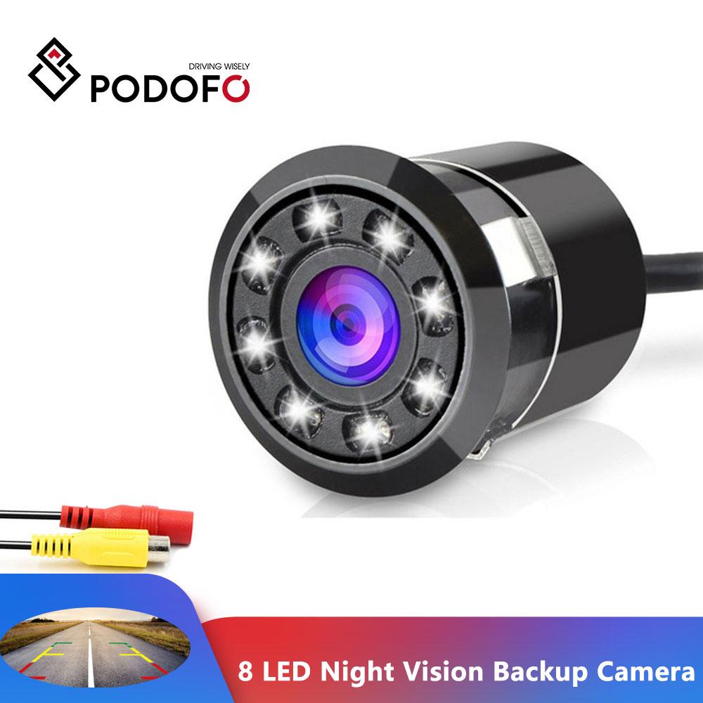 Автомобильная камера заднего вида Podofo, камера заднего вида с 8 светодиодами, ночное видение, 18,5 мм, Full HD камера ПЗС, водонепроницаемая камера ...