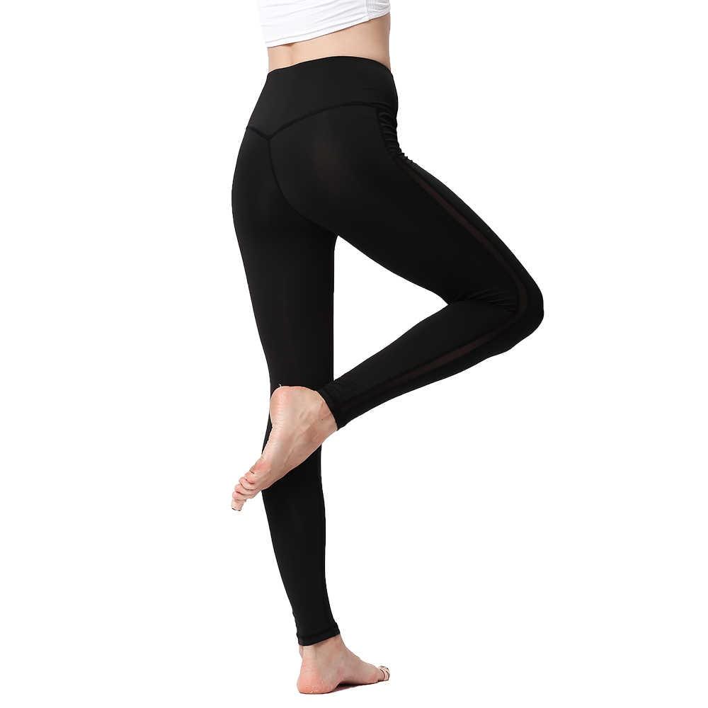 Leggings deportivos para mujer, de cintura alta, ajustados, sexis, de malla, para Yoga, ropa deportiva femenina, para correr, mallas deportivas