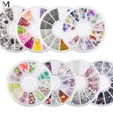 Смешанные алмазные накладные кончики для ногтей, полное покрытие, акриловые наконечники для колес, Кристальные блестящие стразы, 3D украшения для ногтей, цветные стразы AB