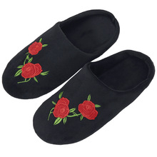 Cotton Slippers Household Indoor Floor Silent Wood Rose Soft-Bottom Embroidered