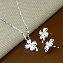 Jewelry-Sets Necklace Clover Pendant 925-Silver Fashion Four-Leaf Plant Wholesale-Price