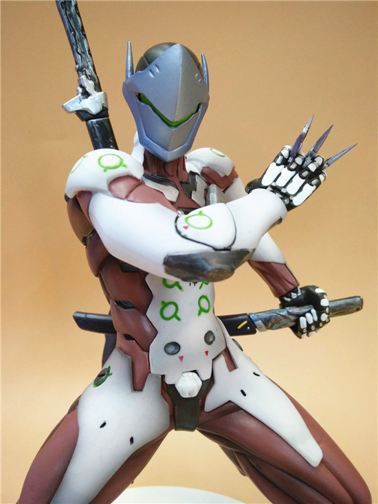 Anime Game Overwatch Genji Changeable Hands Black White Figure Dolls 27cm 1