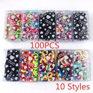 100 Pcs/box High Quality Elastic Hair Ropes Colorful For Children Cute Little Girls Tied Hair Braided Hair Ring Hair Accessories
