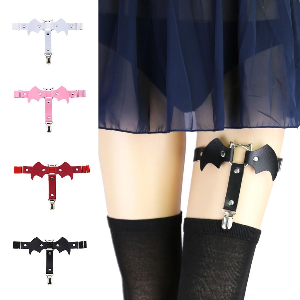 Bat Wing Leather Leg Ring Garter Belt Punk Goth Harness Garter Belt Adjustable Suspender For Sexy Women