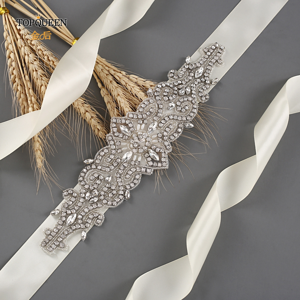 TOPQUEEN S26 Wedding Beaded Sash Crystal Rhinestone Bridal Sash Handmade Dress Belt Bridal Belts For Wedding Dress Wholesale
