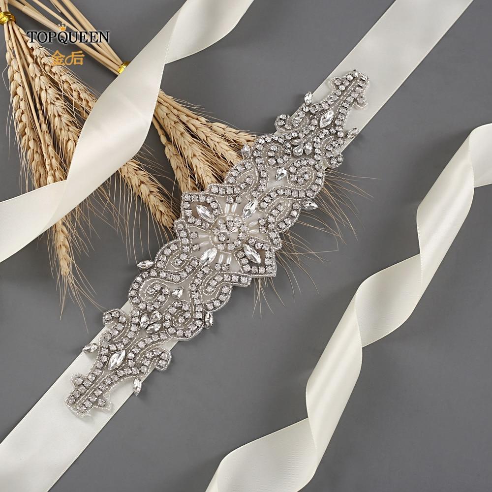 TOPQUEEN S26 Wedding Beaded Sash Crystal Rhinestone Bridal Sash Handmade Dress Belt Bridal Belts For Wedding Dress Wholesale