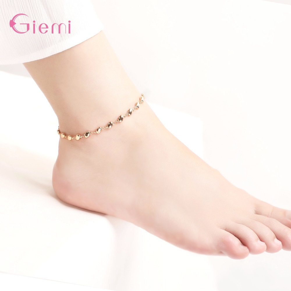Simple Link Chain Heart Style Anklets For Women Ankle Bracelets Summer Barefoot Sandals Jewelry On Foot Leg Chai