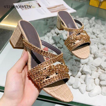 Rhinestone Straps Chunky Heel Slippers Bling Bling Open Toe Block Heels Mules Sandal Summer 2020 Real Leather Shoe Sapatos
