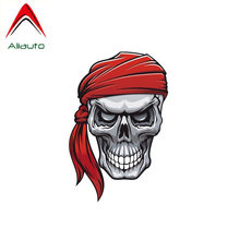 Aliauto Reflective Car Sticker Red Scarf Pirate Skull Rebellion Accessories Cool Decal PVC for Motorcycle Opel Seat VW,12cm*8cm(China)