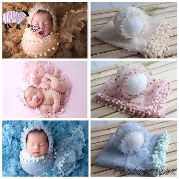 Шапочка для новорожденных мальчиков и девочек + кружевной набор оберток реквизит для фотосессии для младенцев аксессуары для фотосессии дл