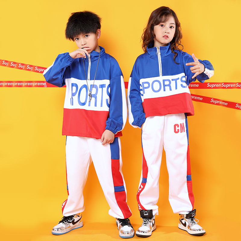 Jazz Dance Costumes Kids Long Sleeve Hip Hop Street Dance Practice Performance Clothing Child Rave Outfit Sport Clothes DC3216