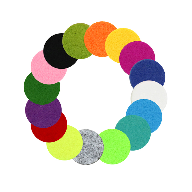 New 20pcs Colorful Aromatherapy Felt Pads 22.5mm Fit for 30mm Essential Oil Diffuser Locket color randomly