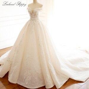 Image 3 - Lceland Poppy Luxury Off the Shoulder A line Wedding Dresses 2020 Sleeveless Vestido de Novia Beaded Bridal Gowns with Flowers