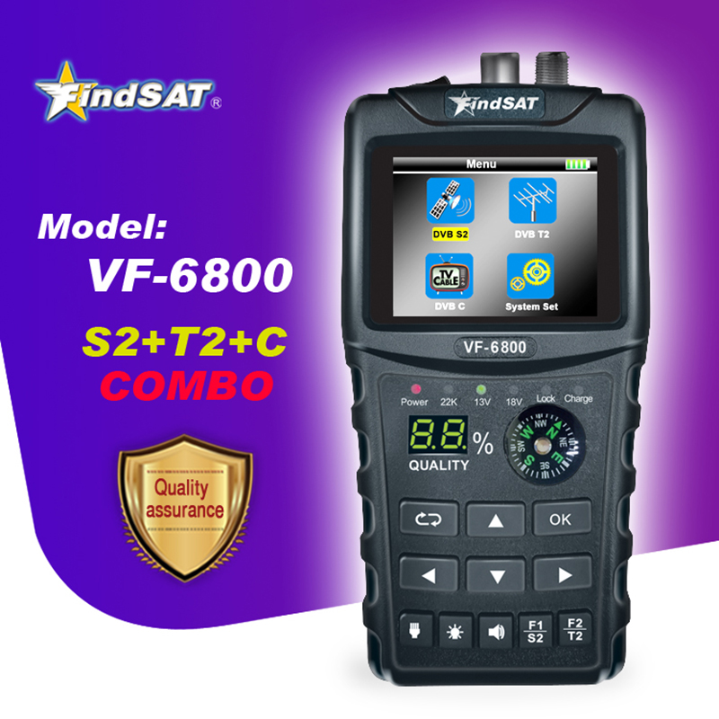 VF-6800 Satellite Finder Meter Support DVB-T2/S2/C SatFinder Meter For Satellite TV Receiver Dvb T2 Sat Finder