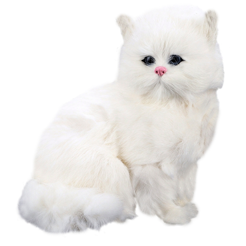 Realistic Cute Simulation Stuffed Plush White Persian Cats Toys Cat Dolls Table Decor Kids Boys Girls