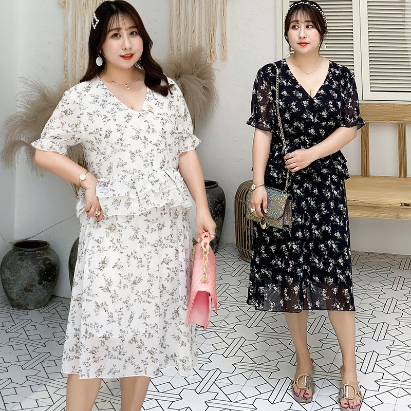 [Xuan Chen] Fat Mm Large Size Dress Very Fairy Of Mid-length Chiffon Dress French 200 Slimming A206