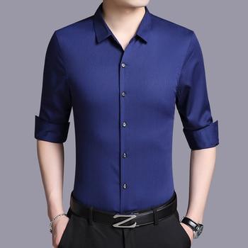 2020 Spring Men Long Sleeve White Real Silk Shirt Black Mens Shirts Casual Slim Fit Korean Social Camisa Masculina KJ1266