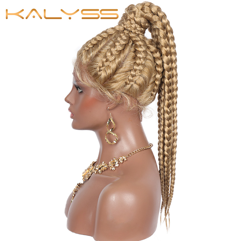 Kalyss 8 Box Braids Ponytails Lace Front Wigs With Baby Hairs 22'' Hand Braided Swiss Lace Front Braided Wigs For Black Women