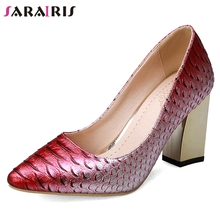 цены на SARAIRIS New Big Size 33-43 Fashion mixed-color Fretwork Pumps Women Autumn Party Wedding High Heels Shoes Woman Sexy Footwear  в интернет-магазинах