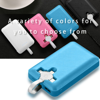 Mini Power Bank 20000 mAh For Xiaomi Mi iPhone Pover Bank Fast Charging Powerbank Built in 3 Cables External Battery Poverbank image