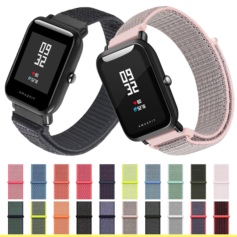 Nylon Strap 20mm 22MM For Amazfit Bip Smart Wrist Strap Nylon Loop Weaving Watch For Amazfit Bip Pace Watchband Brecelet
