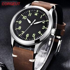 Image 1 - 42mm Corgeut sterylna tarcza do zegarka szafirowe szkło wojskowe mężczyźni automatyczny luksusowy wzór sportowy marki automatyczny mechaniczny męski zegarek