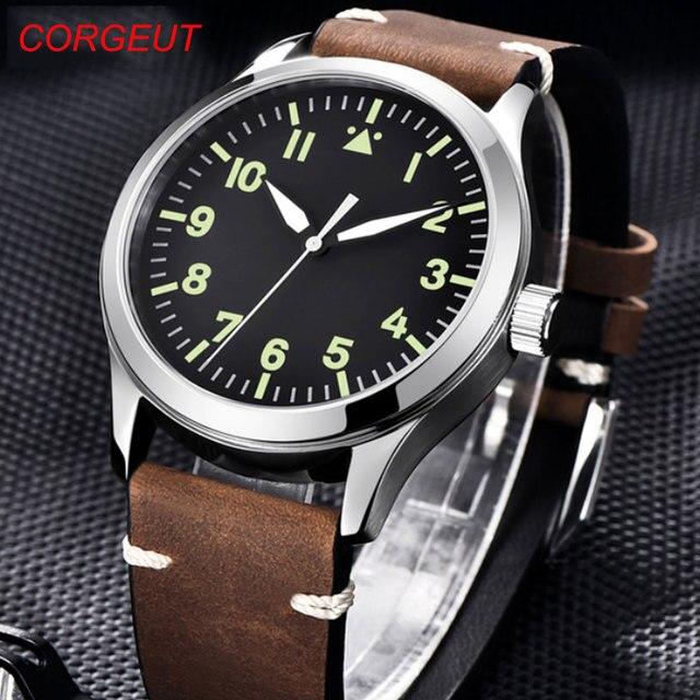 42mm Corgeut sterylna tarcza do zegarka szafirowe szkło wojskowe mężczyźni automatyczny luksusowy wzór sportowy marki automatyczny mechaniczny męski zegarek
