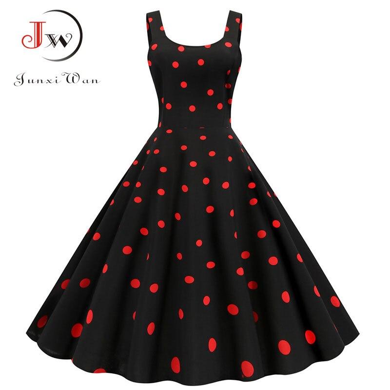 Women Summer Sexy Party Dress Casual Polka Dot Print Hepburn Vintage Robe Femme Plus Size Spaghetti Strap Midi Sundress 6
