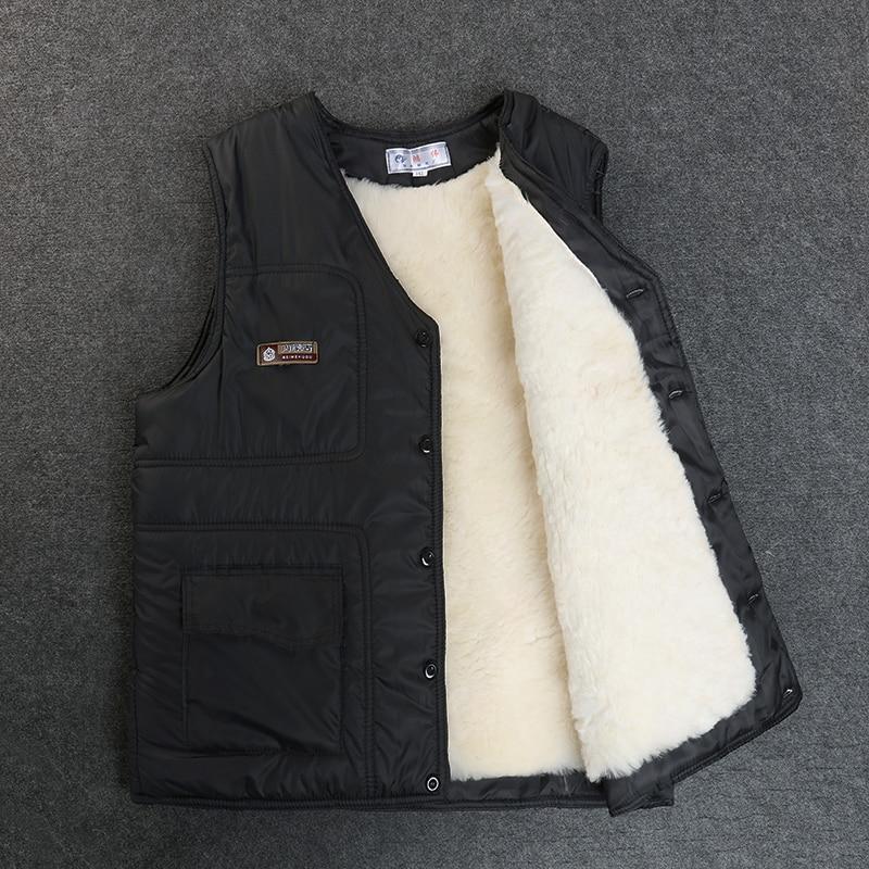 Men's Winter Vest Real Sheep Fur Short Jackets Thicken Keep Warm New Vest High Quality Shorn Sheepskin Plus-size Winter Coat