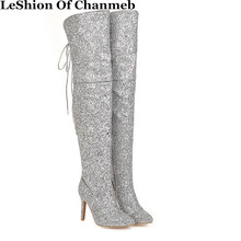 Party-Shoes Glitter High-Boots Over-The-Knee-Boots Bling Pointed-Toe Winter Woman Ladies