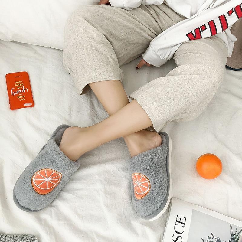 SWQZVT Indoor furry slippers women 2020 fruit print bedroom fur slides women shoes non-slip flat soft house floor female slipper (15)