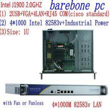 Дешевый 1u серверный шкаф j1900 4 lan ethernet брандмауэр устройство
