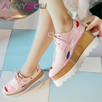 ANNYMOLI Women Pumps High Heels Natural Genuine Leather Platform Wedge High Heel Shoes Embroider Square Toe Shoes Ladies Size 42
