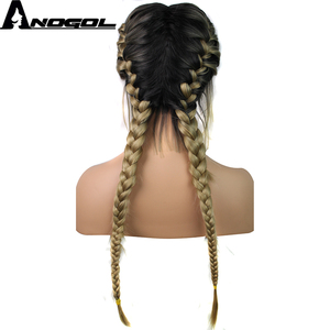 Image 3 - Anogol Pre Plucked Long Double Braids Black Brown Dark Roots Ombre Blonde Synthetic Braided Lace Front Wig With Baby Hair