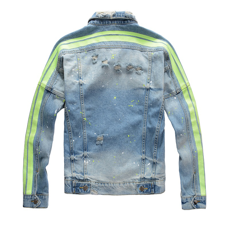 Sokotoo Men's Yellow Green Neon Slim Jean Jacket Streetwear Retro Painted Holes Ripped Denim Coat High Quality