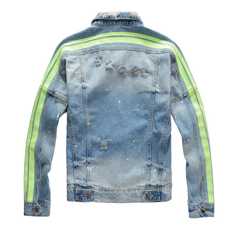 Sokotoo Men's Yellow Green Neon Slim Jean Jacket Streetwear Retro Painted Holes Ripped Denim Coat High Quality