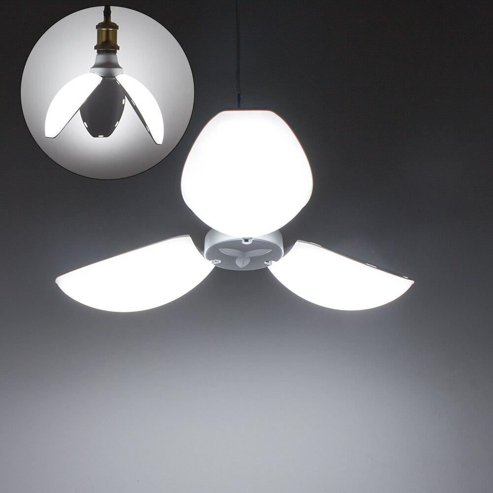 45 w e27 conduziu a luz do bulbo branco dobrável lâmpada de garagem deformable trefoil pétalas luz led lâmpada ajustável iluminação de teto da