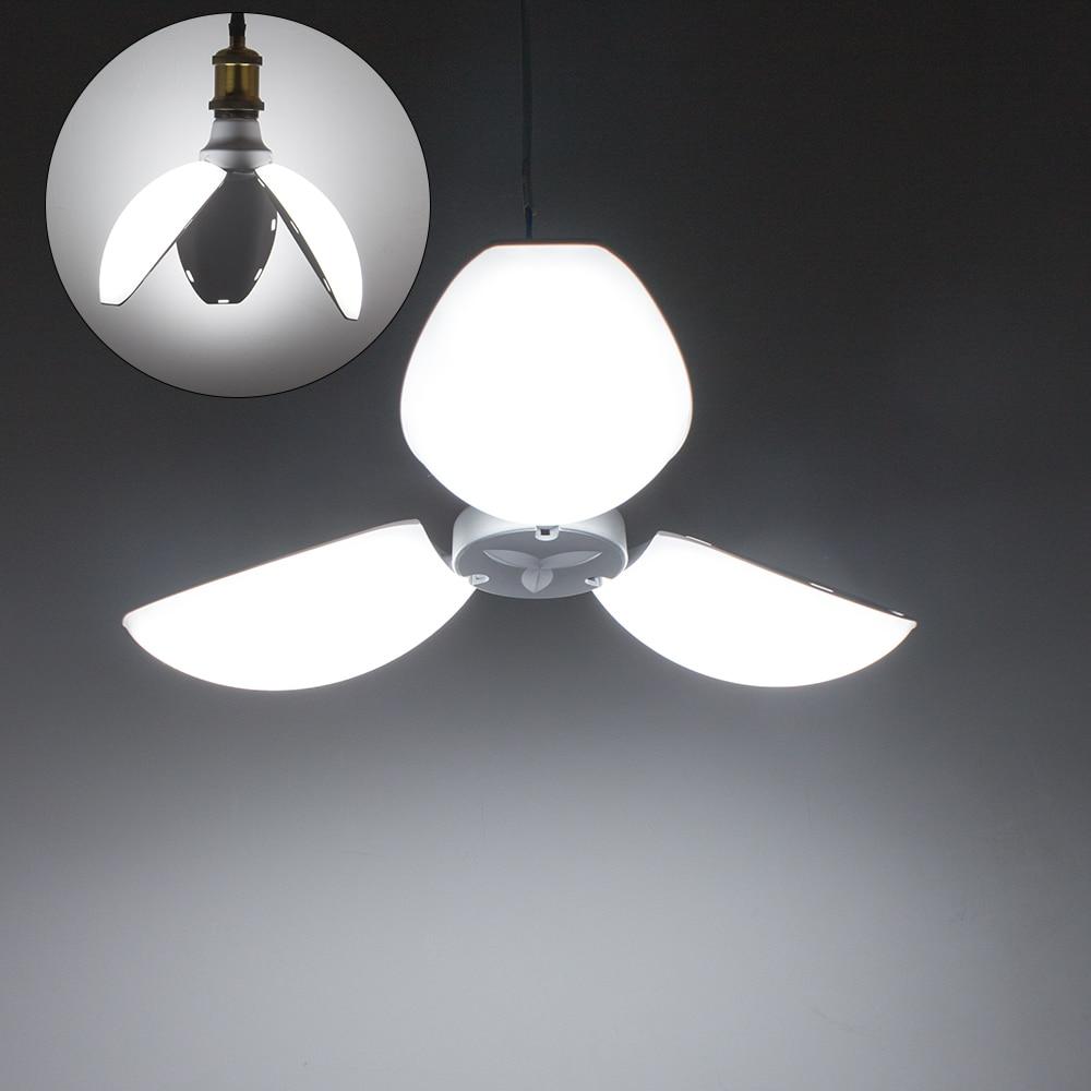 45W E27 LED Bulb Light White Folding Garage Lamp Deformable Trefoil Petals Light LED Lamp Adjustable Ceiling Lighting DA