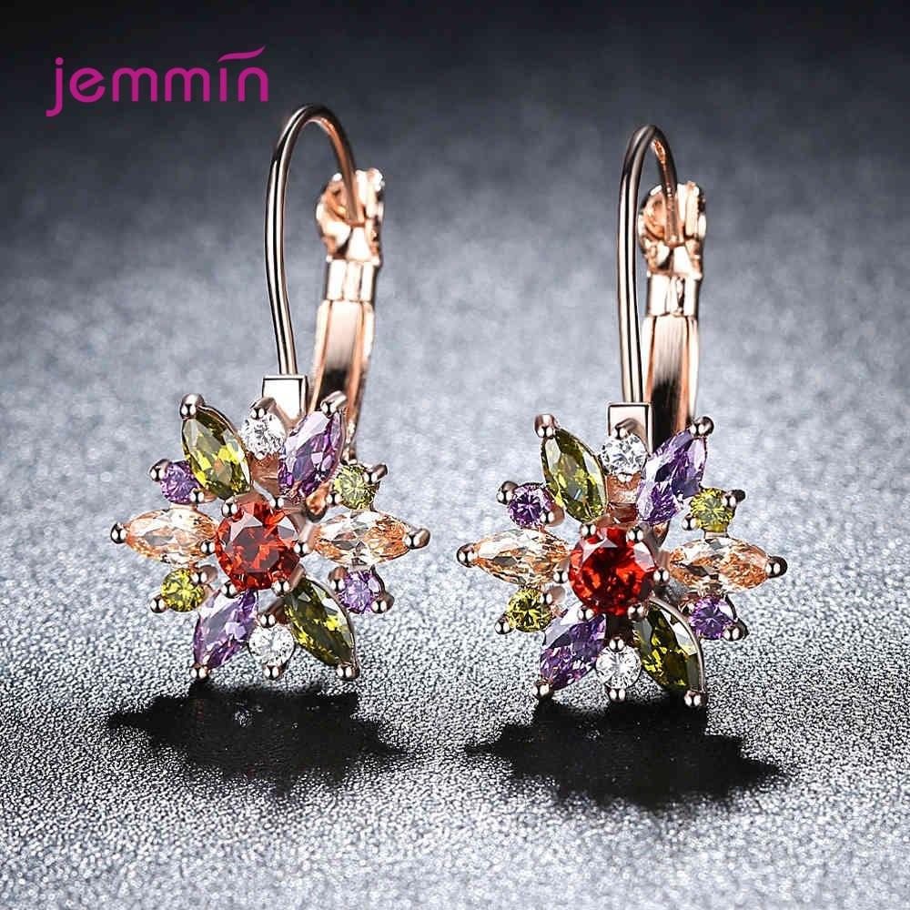 Colorful Crystal Flower Earrings For Women Fashion Luxury 925 Silver CZ Stackable Piercing Earrings Women Christmas Party
