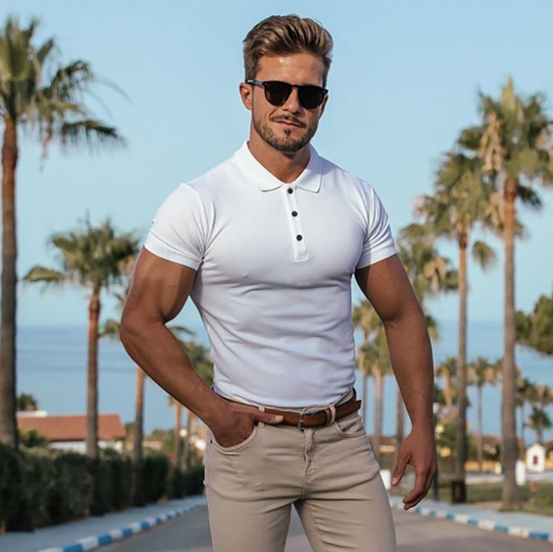 Brand Men Fashion Shirt New Fashion T Shirts Tops Short Sleeve Fitness Tshirt Cotton Mens Shirts Clothing Trend Casual T Shirts