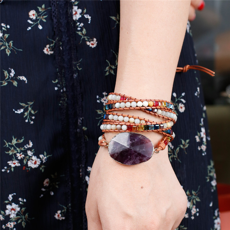 Newest Unique Chakra Natural Stones Charm 5 Strands Wrap Bracelets Handmade Boho Bracelet Women Leather Bracelet